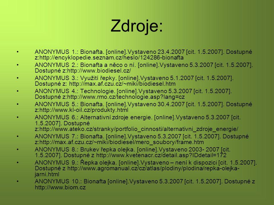 Zdroje: ANONYMUS 1.: Bionafta. [online].Vystaveno 23.4.2007 [cit. 1.5.2007]. Dostupné z:http://encyklopedie.seznam.cz/heslo/124286-bionafta.